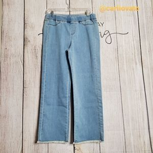 Eileen Fisher Frayed Hem High Rise  Pull On Jeans